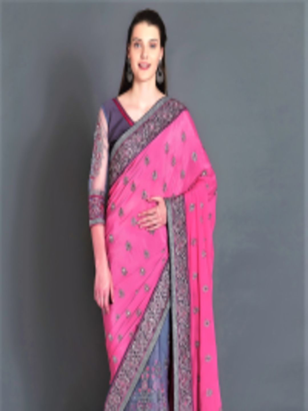 cc0cb58d893b0e Buy Mitera Pink & Grey Pure Georgette Embroidered Saree - Sarees for Women  7093345   Myntra