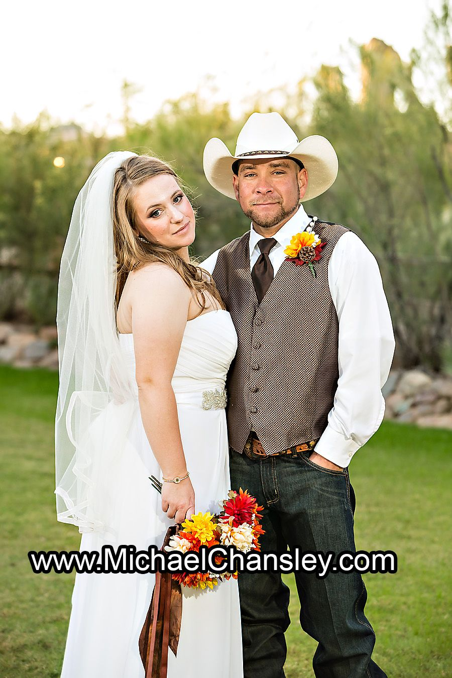 Bride And Groom Posed Portrait At Oasis Wild Horse Ranch Wedding Venue In Tucson AZ Arizona By Michael Chansley Photography Photographer
