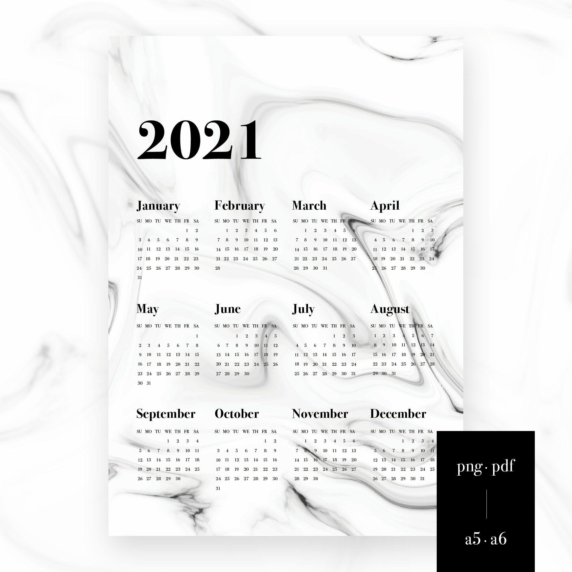 Clean marbel design Digital Wall Calendar Clean PDF PNG