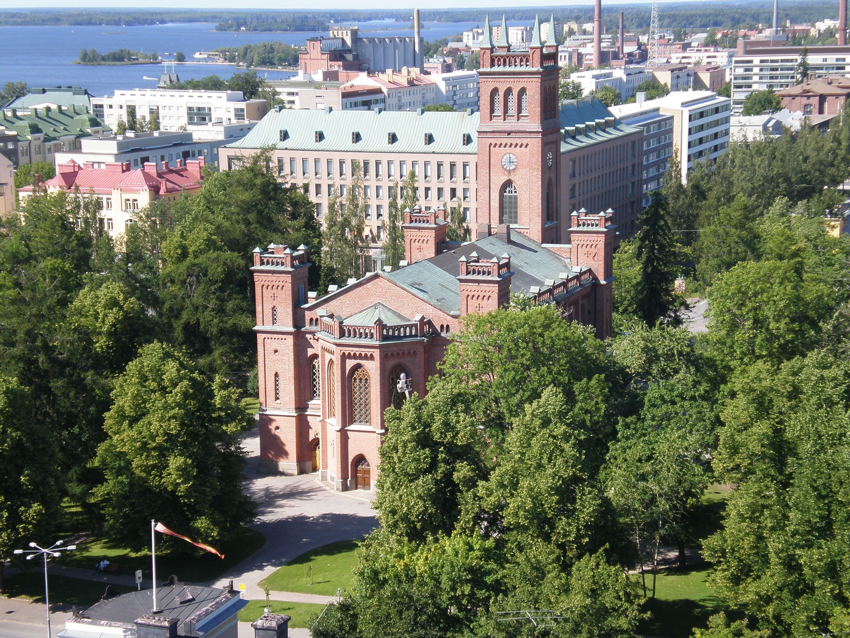 Vaasa Church pictured from the water tower, Vaasa, Finland