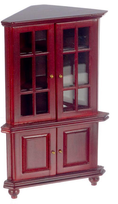 Corner Hutch / Cabinet Mahogany | Mary's Dollhouse Miniatures #miniaturedollhouse