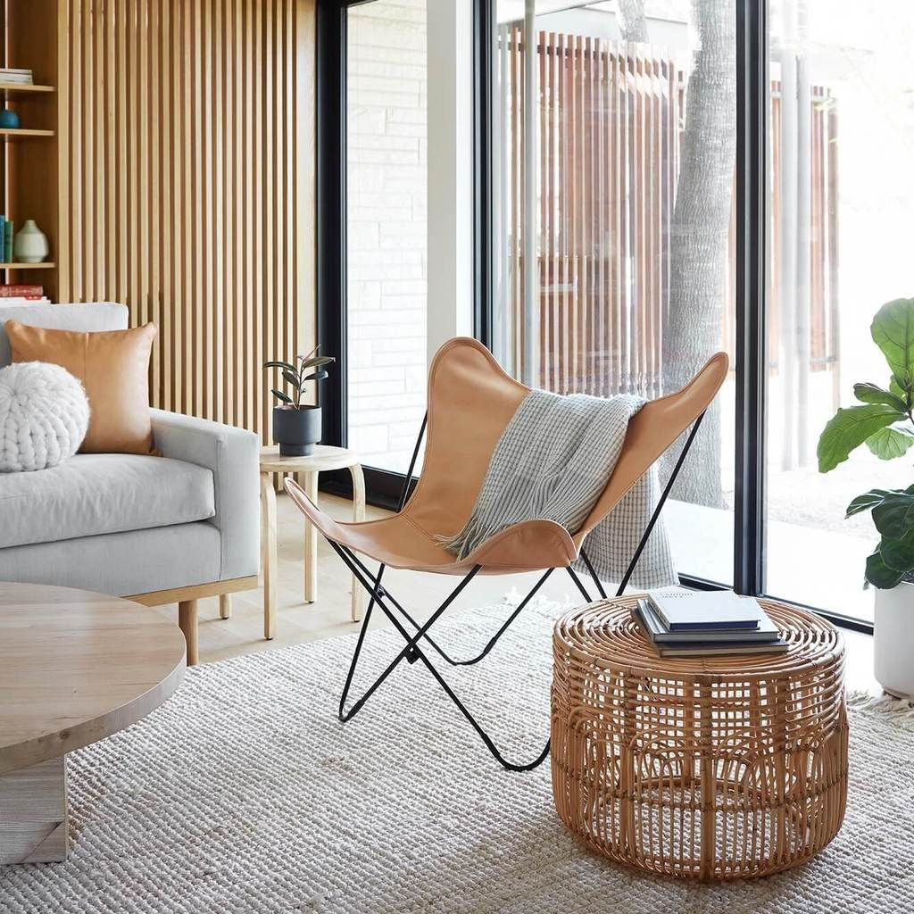 Modern Rattan Side Table Handwoven In Indonesia The Citizenry Leather Butterfly Chair Butterfly Chair Butterfly Chair Living Room #rattan #chair #living #room