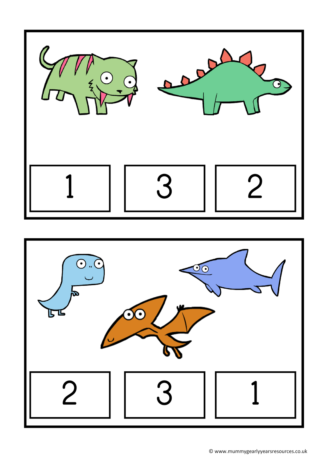 Mummy G Early Years Resources Dinosaur Count And Clip