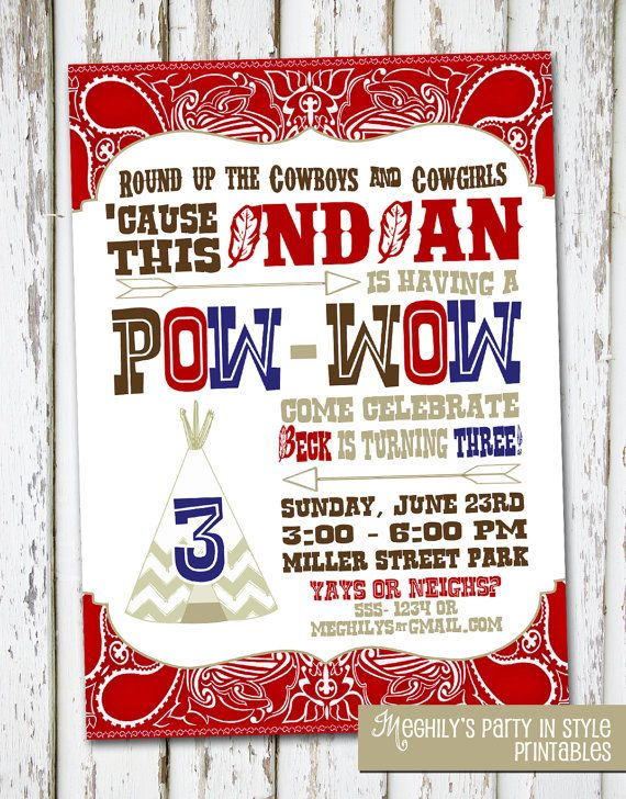 Cowboy Indian Birthday Invitation by Meghilys on Etsy 1000 – Cowboy and Indian Party Invitations