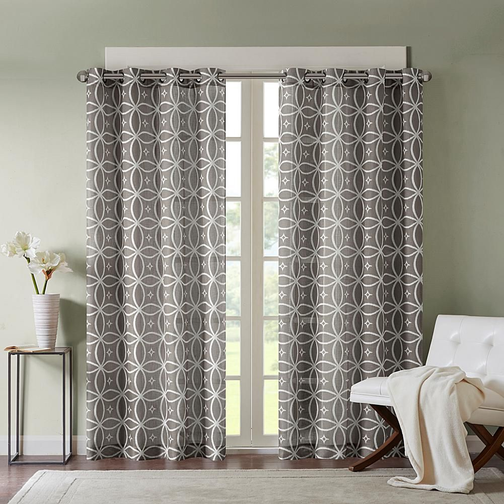 Madison park zafar star fret printed window panel curtain gray