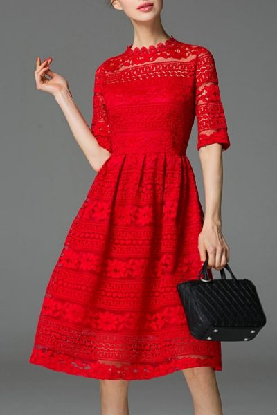Red Knee Length Dress with Lace Sleeves