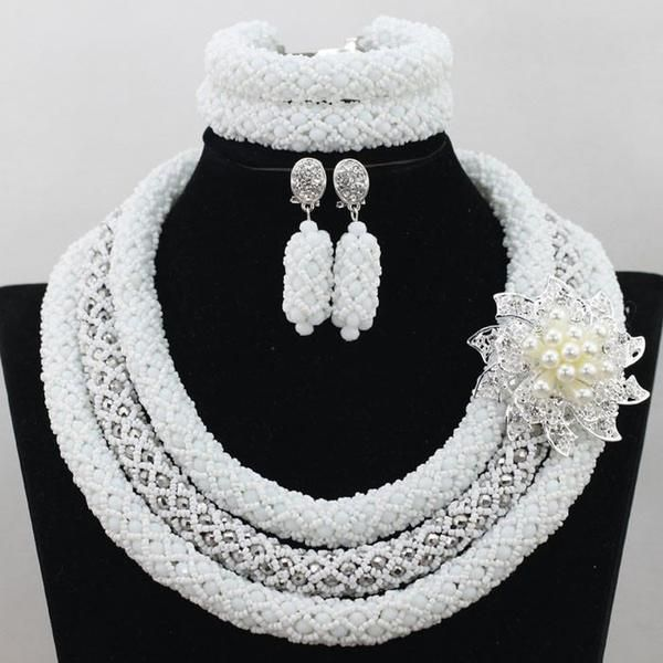 jewelry set metallic silver african beads jewelry set nigerian traditional beads jewelry