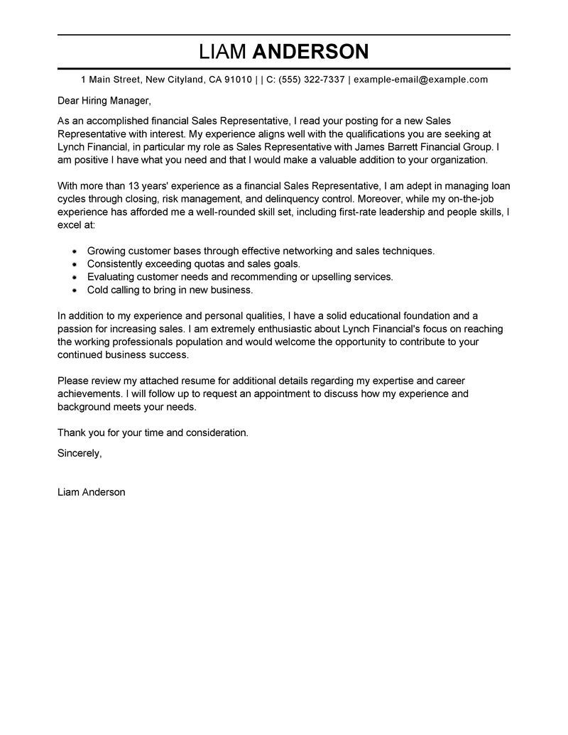 best sales representative cover letter examples livecareer create ...