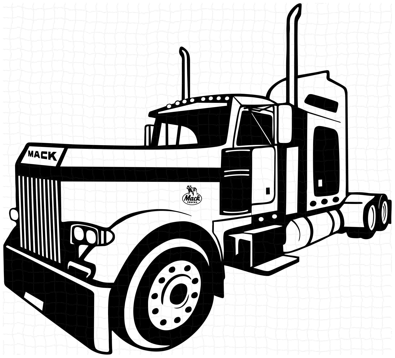 Semi Truck Svg Mack Semi Truck Silhouette Vector Semi Etsy In 2021 Trucks Mack Trucks Semi Trucks