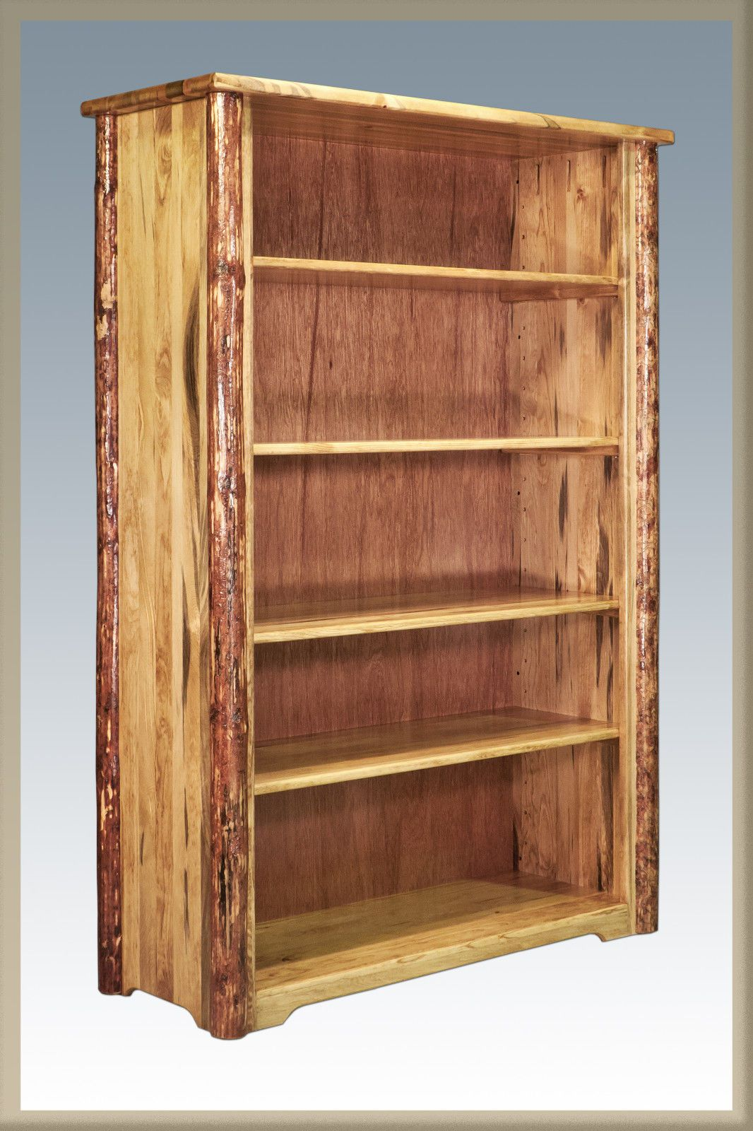 Rustic Log Bookcases Wood Book Case Solid Pine Shelf Amish Made Cabin Ebay Bookcase Wood Bookcase Adjustable Shelving