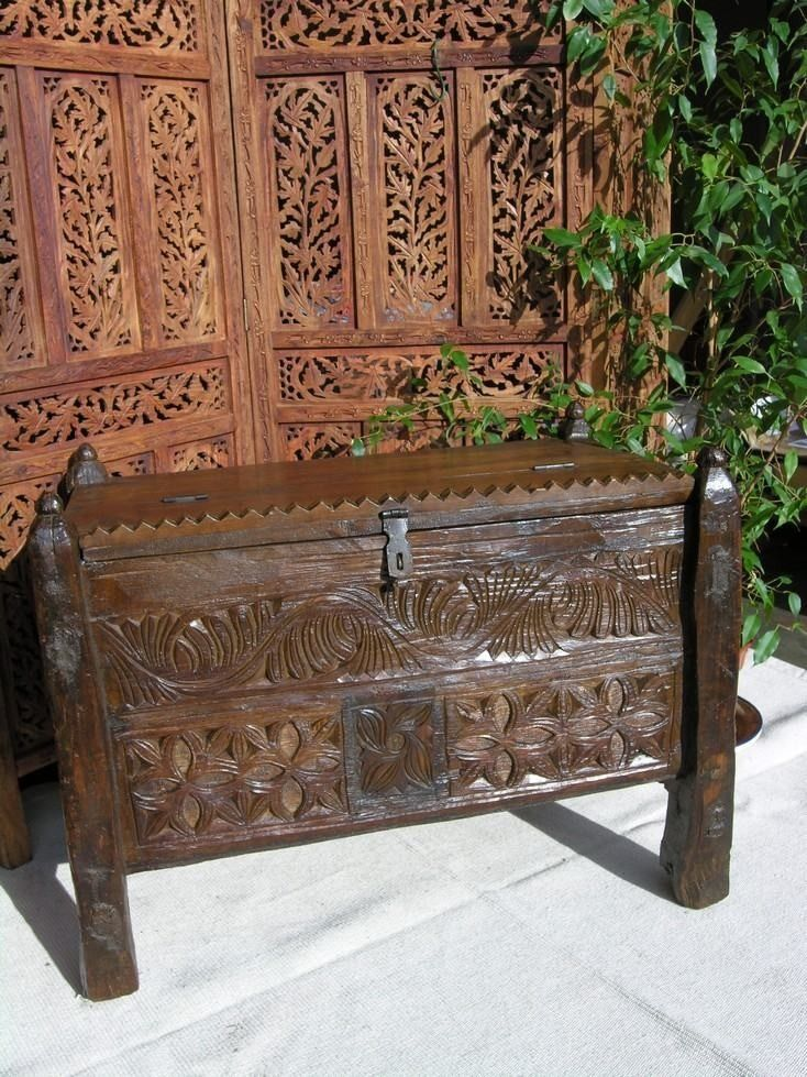 Wooden Indian chest box with legs with flower pattern