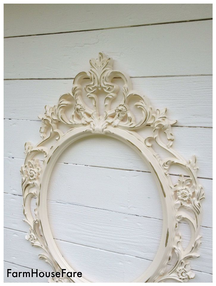 Large Vintage Style Frame, Shabby Chic Oval Frame, French Country ...