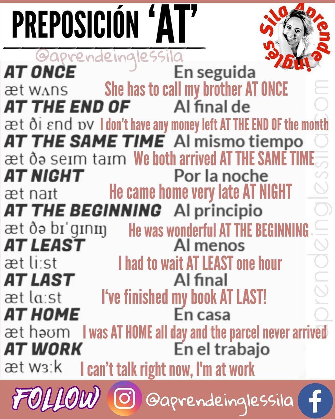 Sila Inglés On Instagram Frases Preposicionales Con At