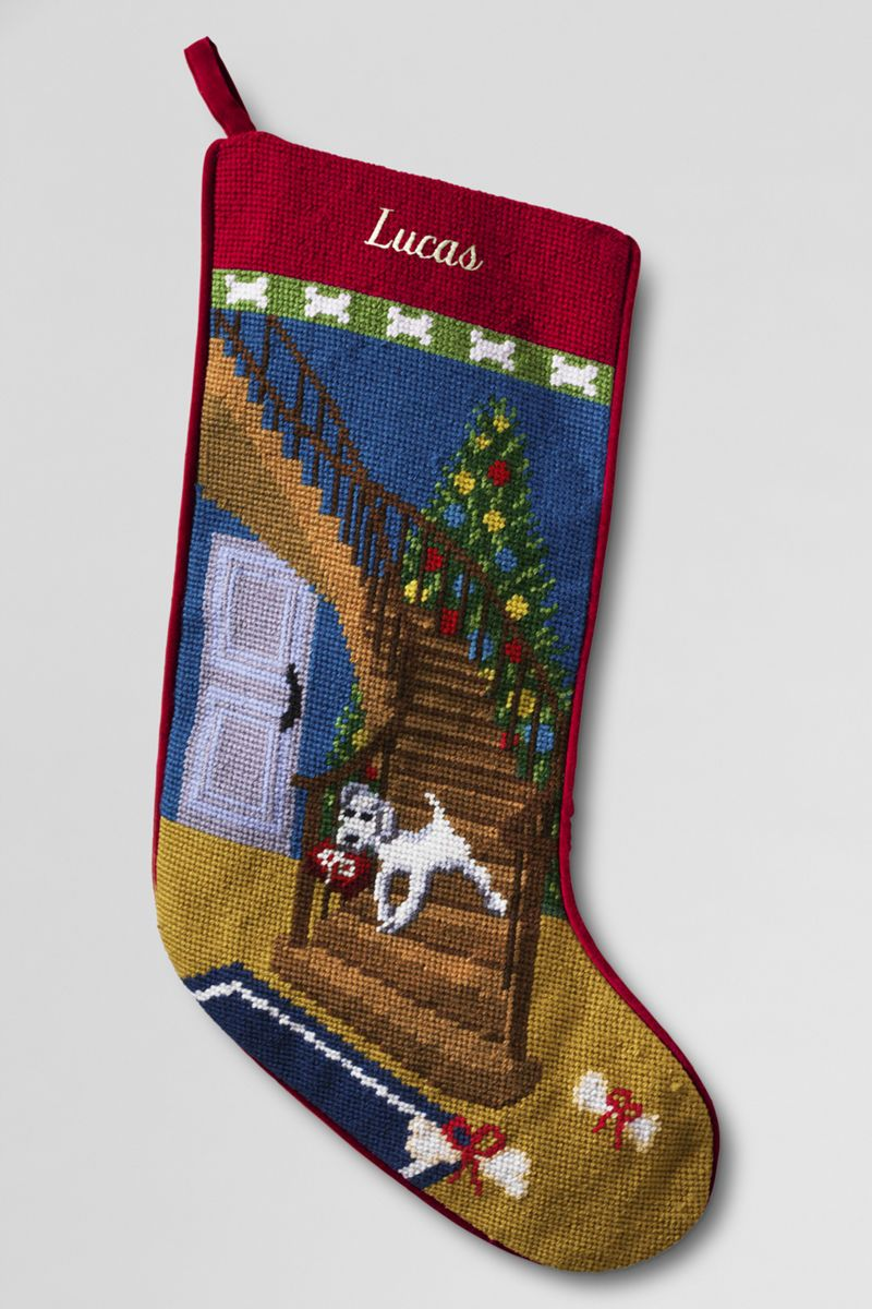 Needlepoint Christmas Stocking from Lands' End Christmas