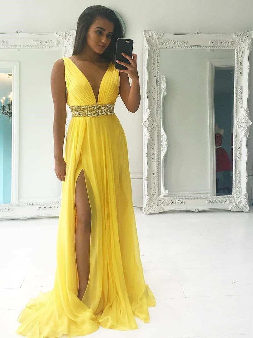 a4f4d74a95a78 Gorgeous V Neck Empire Yellow Long Prom Dress with Slit in 2019 ...