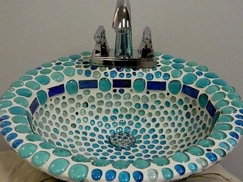 Beautiful Bathroom Sinks Decorated With Mosaic Tiles Mosaic Tile