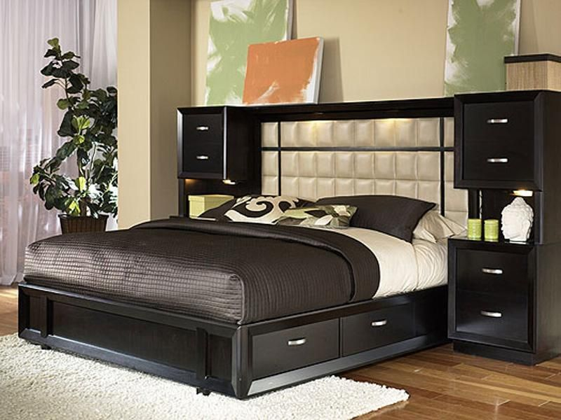 Bed frame with spotlights home bedroom furniture for Headboard and dresser