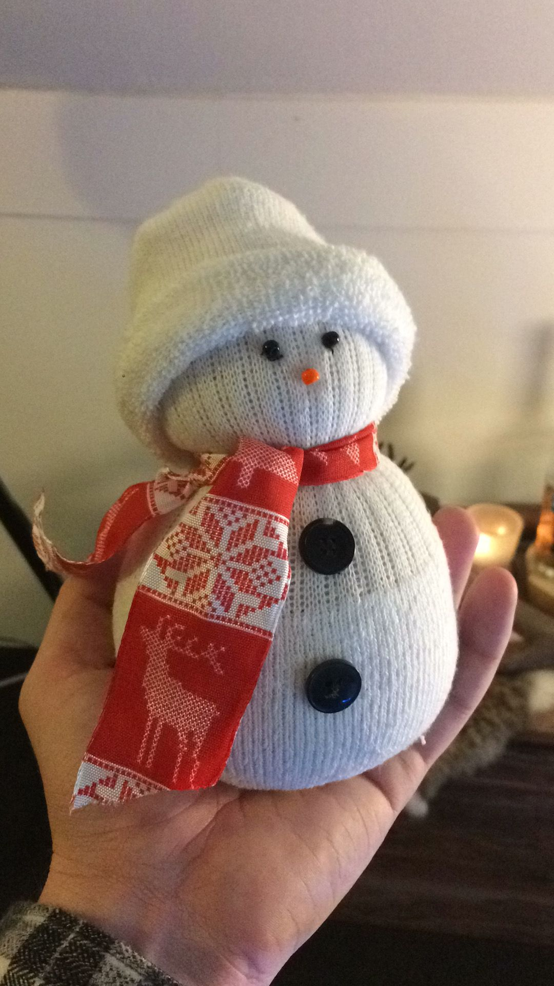 Snowman made from a sock and rice!! ⛄️ ❄️ ❄️