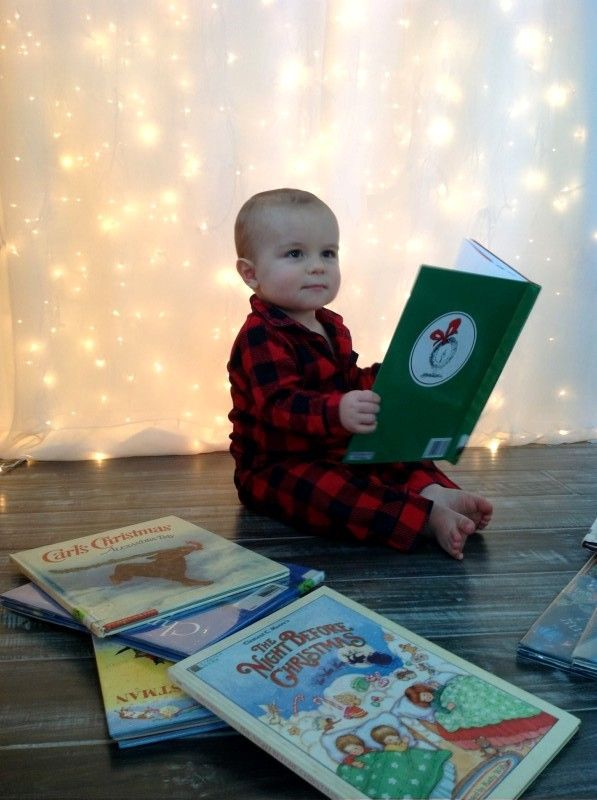 Merry Christmas and Happy Holidays! Christmas card, baby, toddler, reading