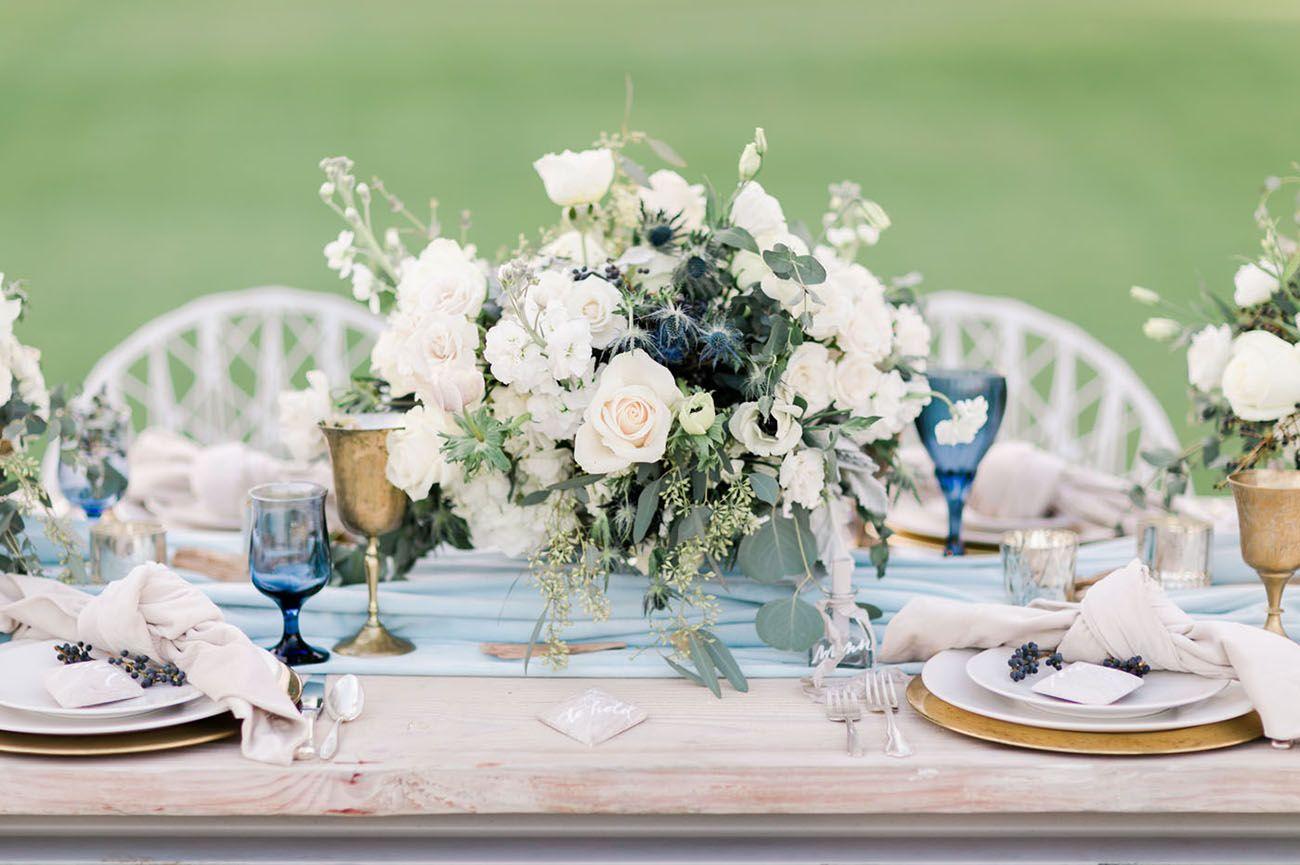 Modern Blue Cool Chambray Wedding Inspiration At The Westdrift Manhattan Beach Green Wedding Shoes Beachside Wedding Beach Wedding Centerpieces Beach Theme Wedding Invitations
