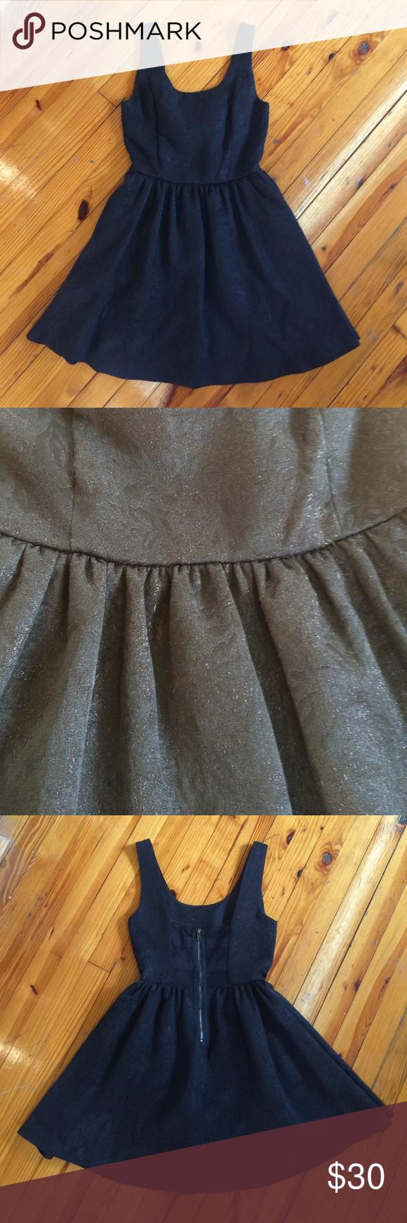 Princess Vera Wang Skater Dress 👸 Textured, yet subtle black on black floral pattern dress with metallic thread. Worn once. Zipper detail back w/ sheer patches. Size in dress says 1. Princess Vera Wang Dresses
