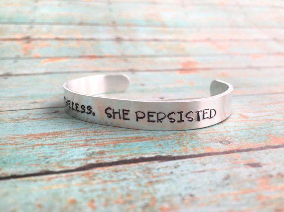 Nevertheless She Persisted Bracelet Inspirational Cuff Feminist