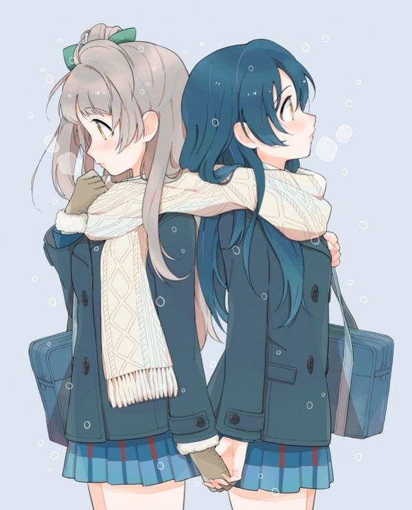 Dessin illustration filles copines partageant charpe - Personnage manga fille ...
