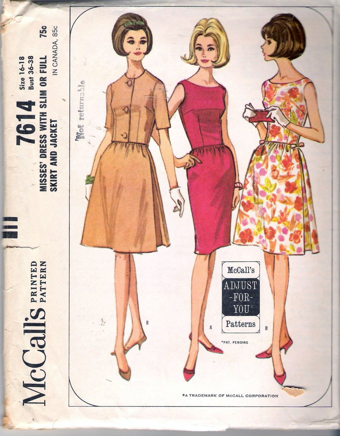 Vintage 1964 McCall\'s 7614 Dress with Full or by Recycledelic1 ...
