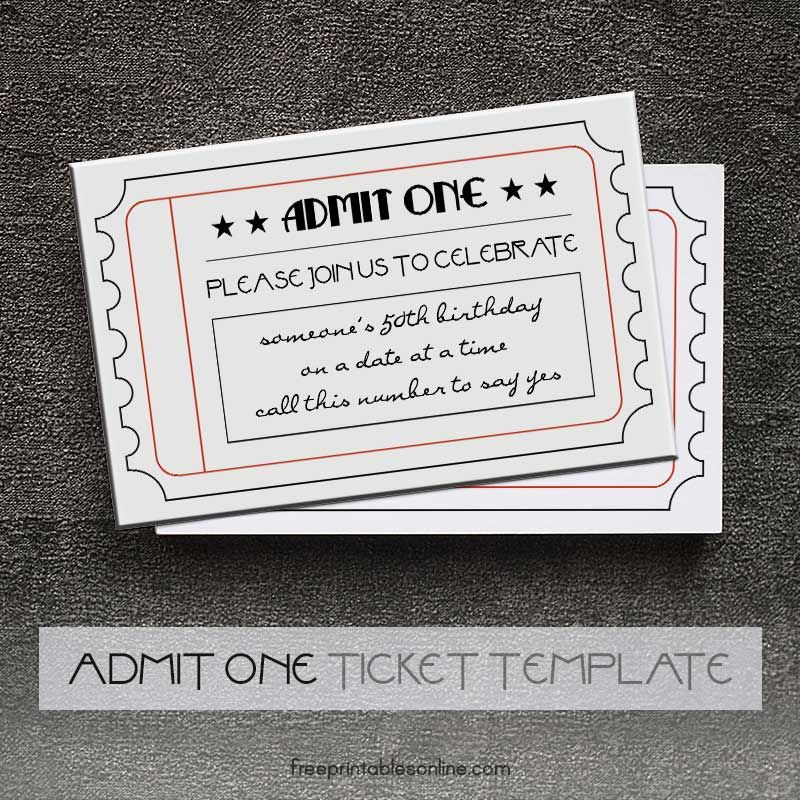 Black and White Printable Admit One Tickets (Free Printables - printable ticket template free