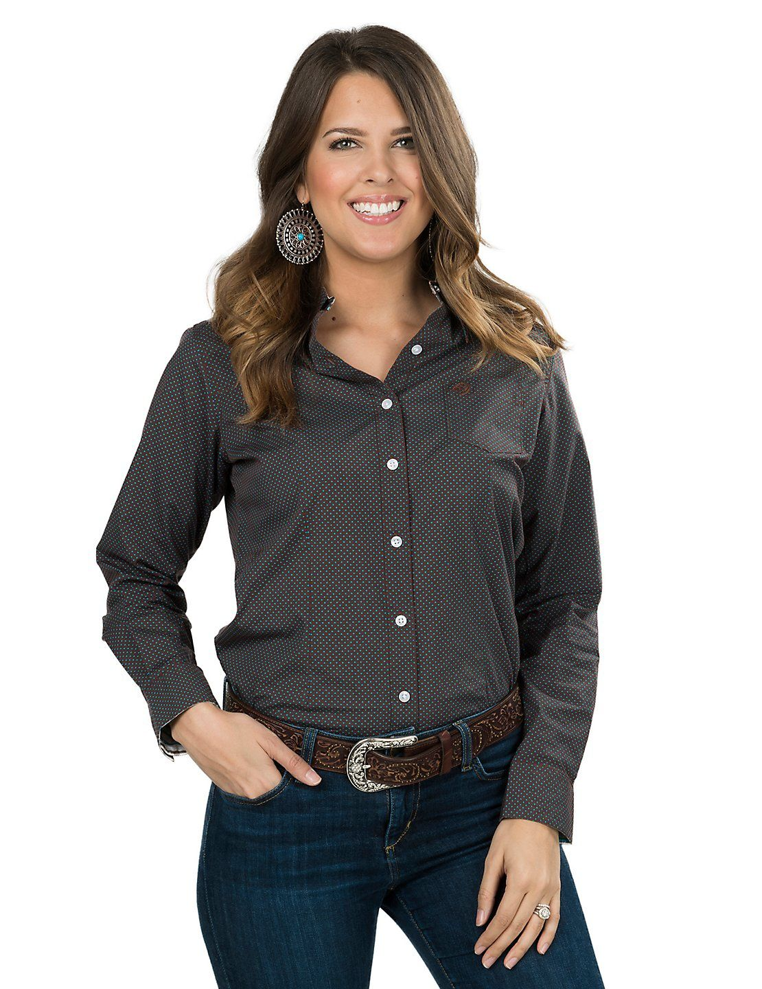 f9c653b13 George Strait by Wrangler Women's Brown with Turquoise Polka Dots Long  Sleeve Western Shirt | Cavender's