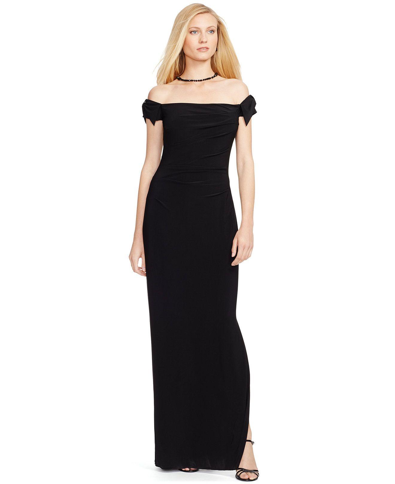 Lauren Ralph Lauren Off-the-Shoulder Jersey Gown - Dresses - Women - Macy's