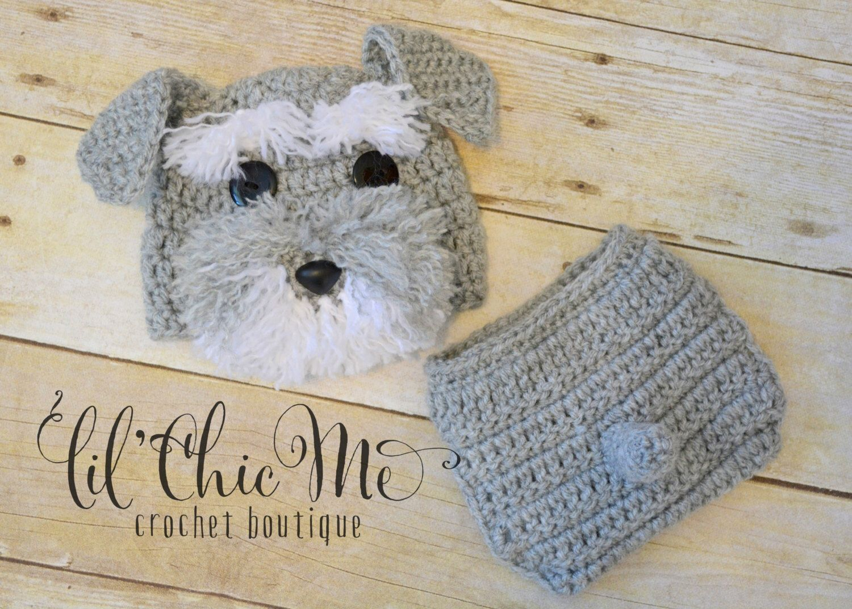 Baby Puppy Hat & Diaper Cover Set/Crochet Schnauzer Newborn Photo ...