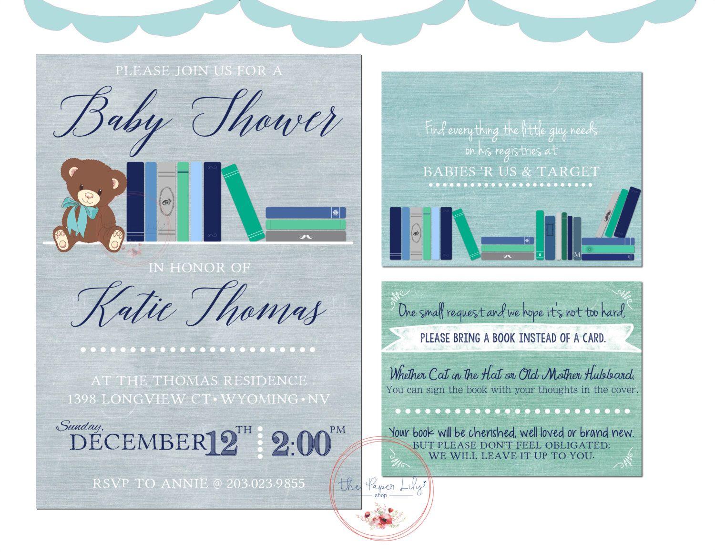 Book Theme - Baby Shower Invite Set by ThePaperLilyShop on Etsy ...