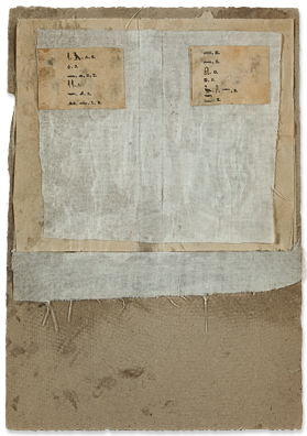 """Robert Rauschenberg, Untitled [pictographs and feathers], c. 1952, on view at Craig Starr Gallery in the exhibition """"Robert Rauschenberg: North African Collages and Scatole Personali c. 1952"""", on view until 8/10/12"""