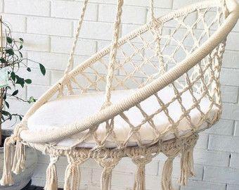 Crochet Hanging Chair Black Bohemian Boho Chic Por Azulbereber