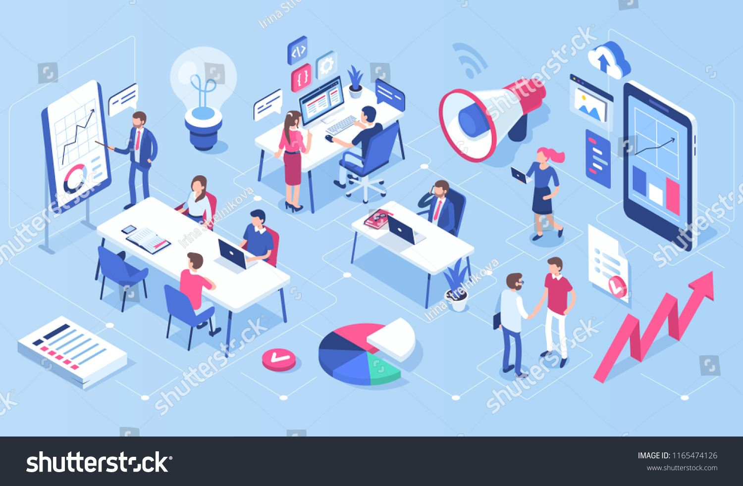 People In Open Space Office Concept Design Can Use For Web Banner