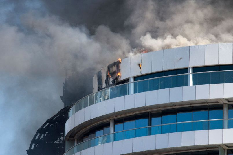 The Address Downtown Hotel, Dubai, which is still ablaze