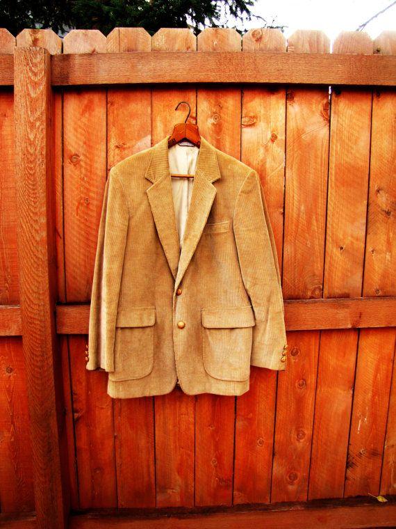 vintage camel corduroy mens sport coat  size M to L by VintageTins, $38.00