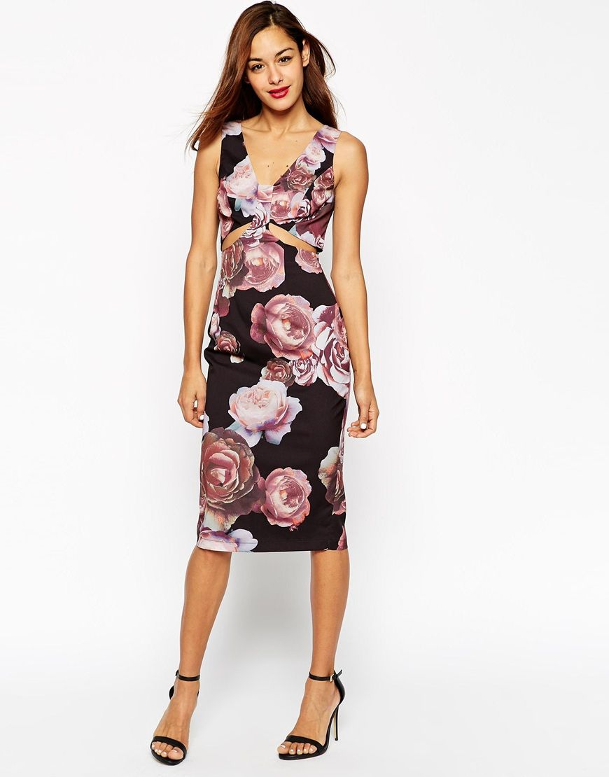 b58d107da7b ASOS Dark Floral Soft Cut Out Pencil Dress | Dresses | Dresses ...