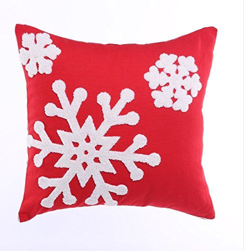 Howarmer 18x18 Christmas Decoration Red Throw Pillow Cover Embroidered Pillows For Snow