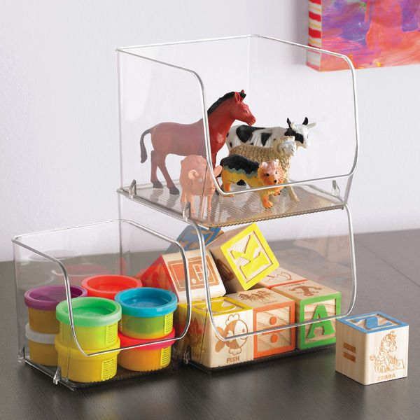Interdesign Linus Open Stackable Bins Container Store Toy Storage And Stackable Bins