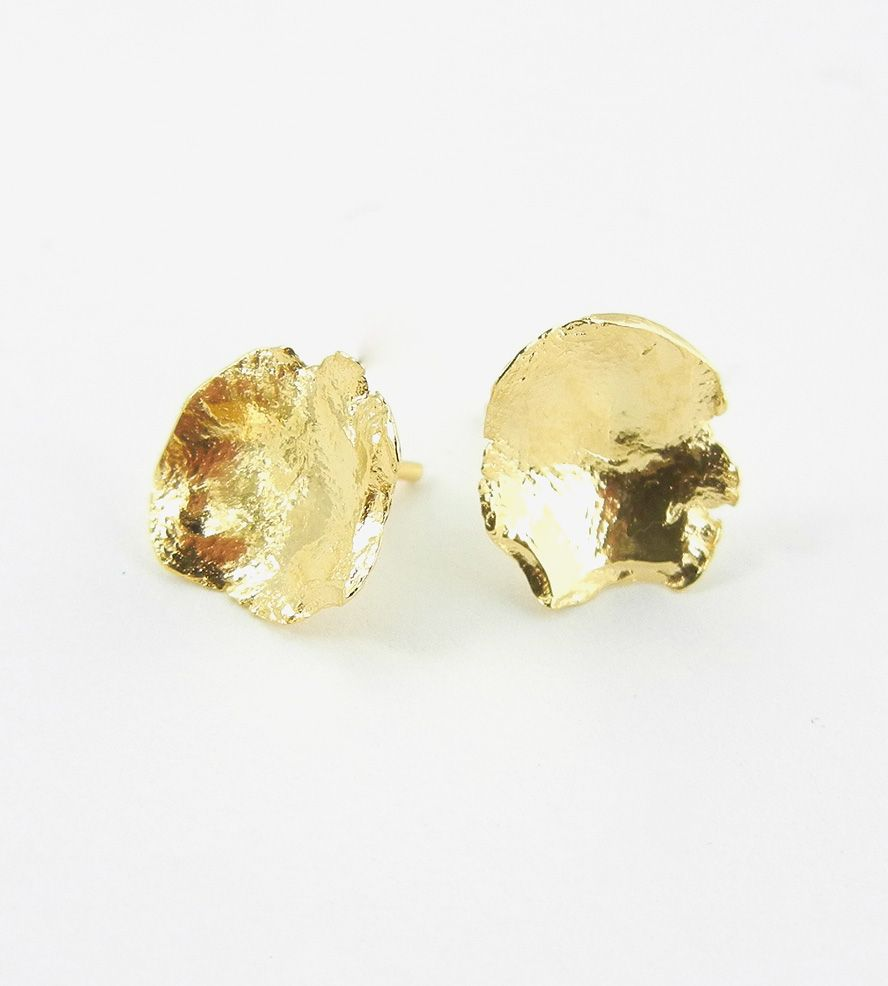 Gold Petal Stud Earrings