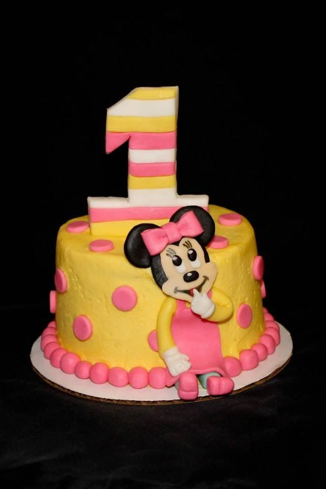 Magnificent Baby Minnie Mouse 1St Birthday Cake 1St Birthday Ideas Personalised Birthday Cards Veneteletsinfo