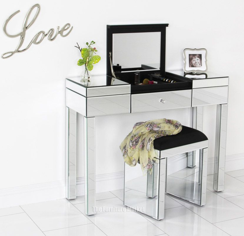 Glass vanity table set - Barcelona Mirrored Dressing Table Images