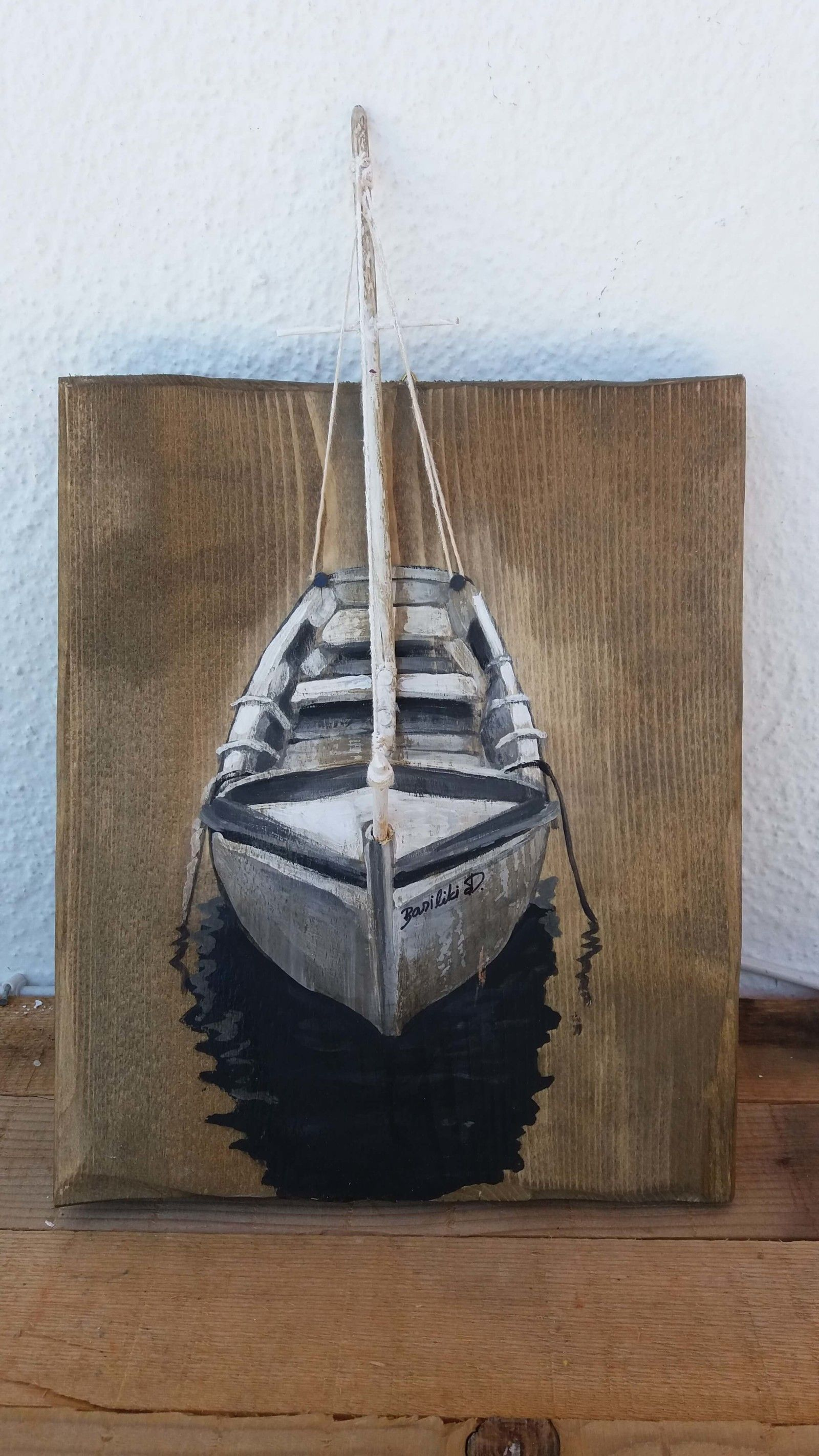 Sold Original Acrylic Painting On Reclaimed Wood Boat Acrylic