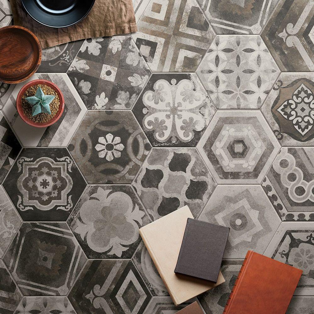 Carrelage Hexagonal Imitation Carreaux De Ciment 24x27 7 Miami Mix