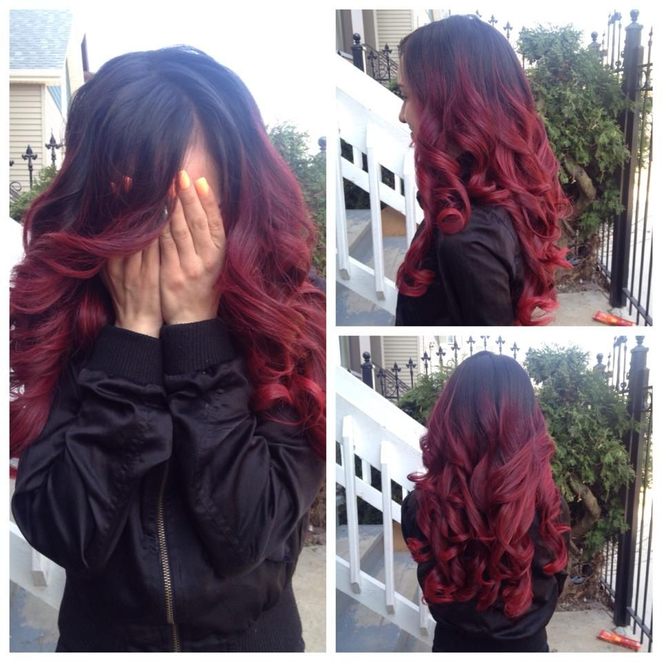 Red And Black Ombre Hair With Extensions 3 Love Hair