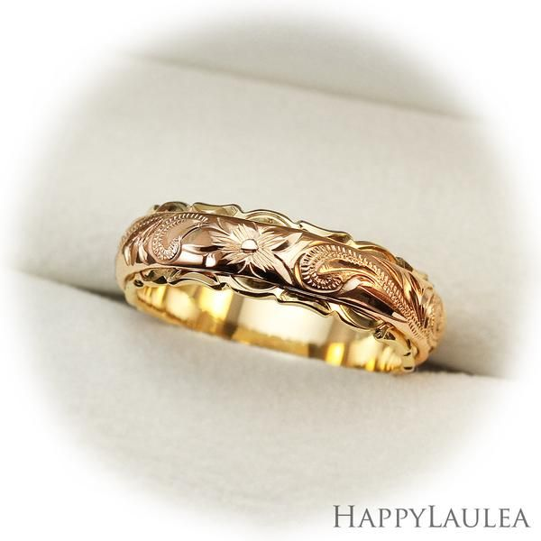 14K Gold 4x6mm Two Tone Ring with Hawaiian Hand Engraved Heritage
