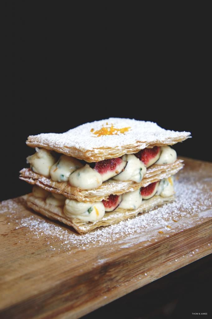 Millefeuille with Fig and Orange Basil Cream