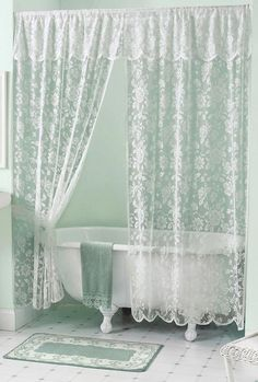 Double Swag Shower Curtain Shabby Chic Shower Curtain Lace